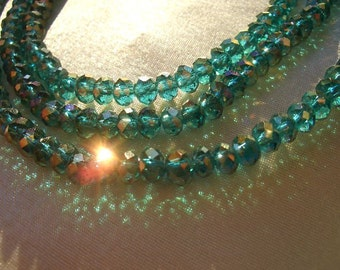Crystal beads, 3 x 4mm, emerald green, 75 crystals, glass beads, AB crystals, green, 4mm beads, special, sale, rondelle beads