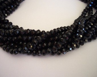 Black glass crystal beads, 4 x 6mm beads, crystals, faceted rondelle beads, 6mm glass beads, black glass beads, rondelle, nice quality