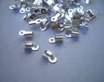 100 silver plated crimp ends, ca. 3 x 6mm nice quality crimp ends, fold over crimp ends, crimp end caps, silver
