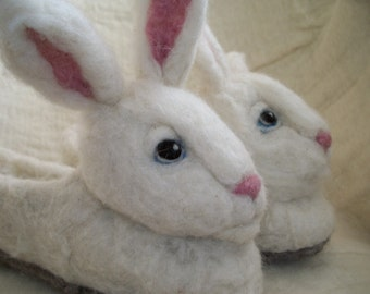 Super Soft Wool Felt Bunny Slippers