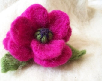 needle felted flower brooch