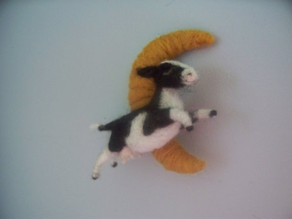 The Cow Jumped over the Moon   wool felted cow