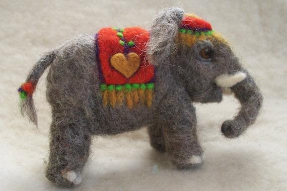 Circus Elephant  Gray wool needle felted