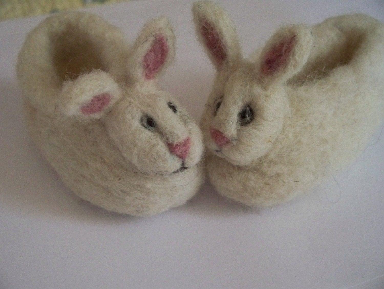 Rabbit slippers | Etsy