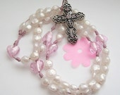 Pearl Rosary with Pink Hearts (10015)