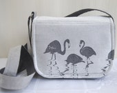 Kangala Babywearing Silver Messenger Bag with Birds Flamingos Black and White