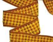Fabric Trim Waffle Vintage Fabric Tape Choclate Brown Sewing Trim