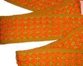 Retro Fabric Trim - Hot Colors Orange Olive Green Waffle Woven Sewing Home Decor