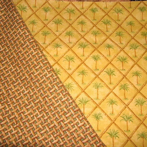 Tropcial Fabric -  100% Cotton Green Palm Tree Bamboo Pillow Sewing Fabric  for Home Decor  and Craft Projects Trimming Trimmings Fringing
