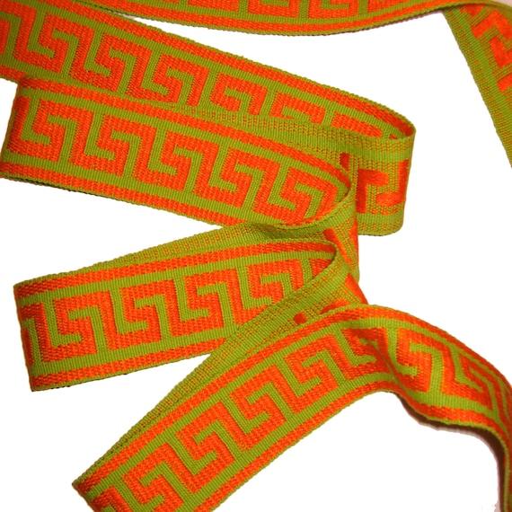 4 Yards GREEK KEY Fabric Trim Lime Green Orange 70s Sewing Trim