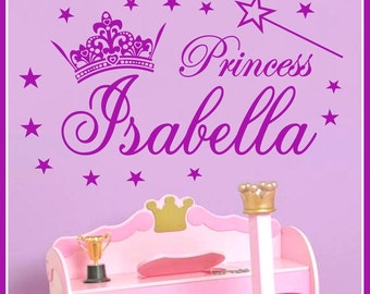 Personalized Name and Princess Crown Vinyl Wall Decals Art Stickers (No. 044)