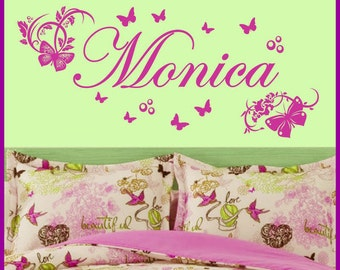 Personalized Name BUTTERFLIES Vinyl Wall Decals Art Stickers (No. 019)