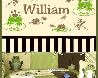Personalized Name and FROGS and WATER LILY Vinyl Wall Decals Art Stickers for Kids Boys and Girls