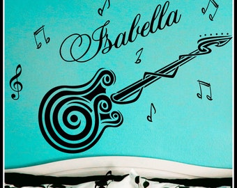 Personalized Name and GUITAR music notes Vinyl Wall Decals Art Stickers for Kids Boys and Girls