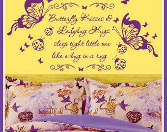 Butterfly Kisses Ladubug Hugs Vinyl Wall Decals Saying Quote Art Stickers