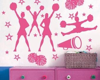 CHEER Cheerleaders Poms GIRLS Stars Custom Vinyl Wall Decals Art Stickers Nursery Kids Girls