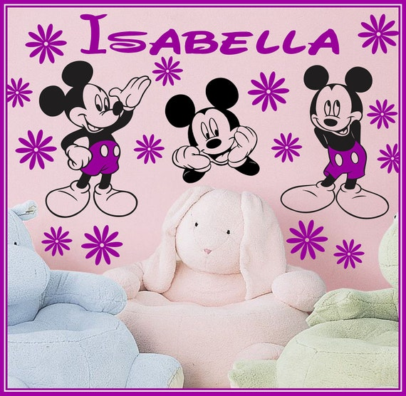 Personalized Name and MICKEY MOUSE and Flowers Vinyl Wall Decals Art Stickers for Kids Nursery