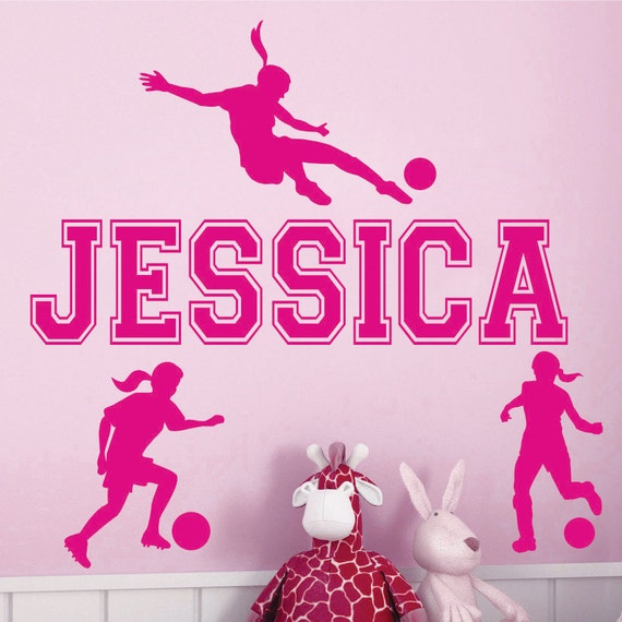name and soccer vinyl wall decals art stickers for kids girls