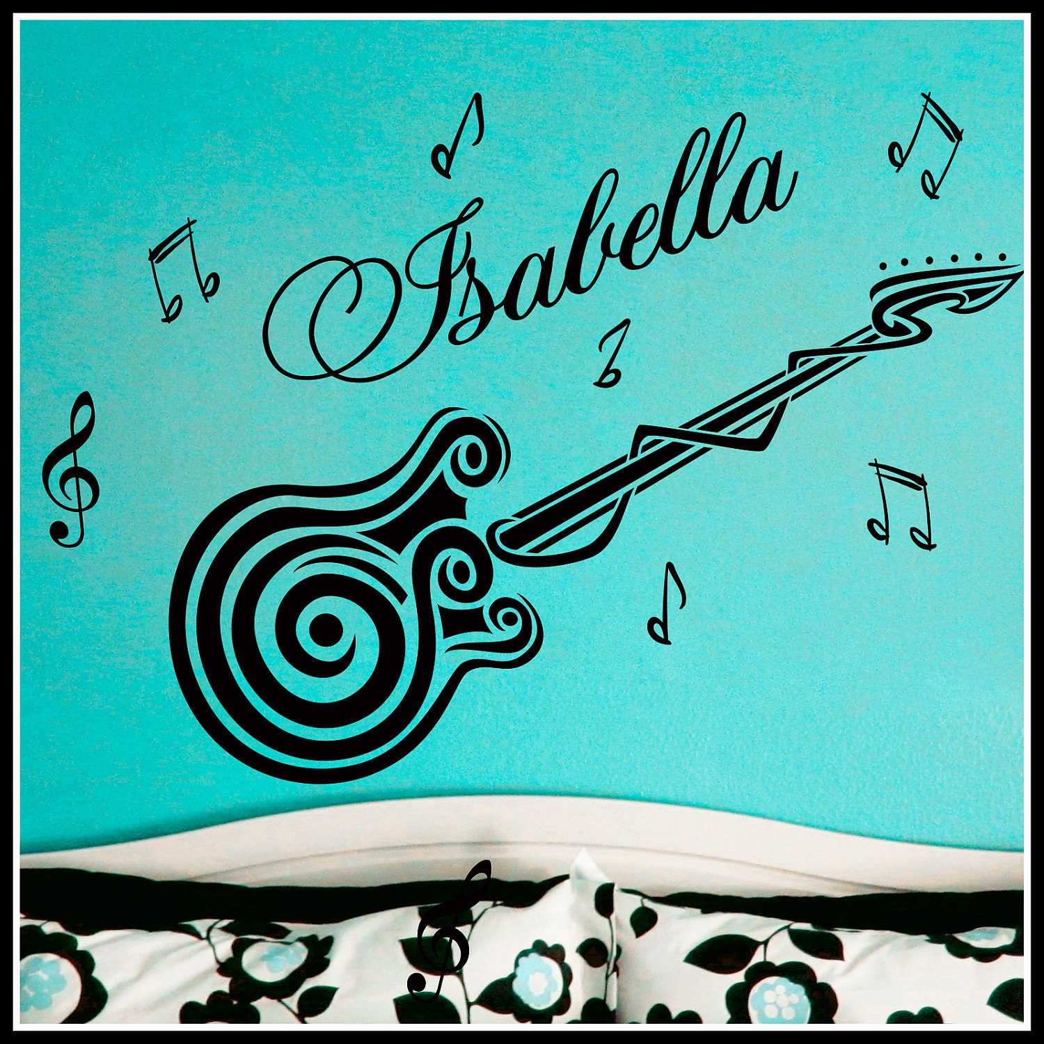 personalized name and guitar music notes vinyl wall decals art. Black Bedroom Furniture Sets. Home Design Ideas