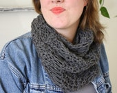 dropstitch hand knit cowl in slate gray, by Westlake Designs