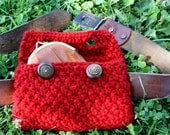 CUSTOM LISTING for Meghan. fanny pack in ruby red with vintage buttons. hand knit with 100% sheep's wool.