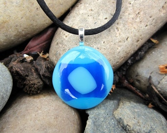 Fused Glass Pendant, Blue Evil Eye, Blue Glass Necklace, Valentine's Day Gift, Mothers Day Necklace