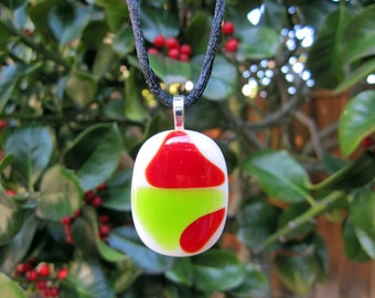 Fused Glass Necklace in Red and Green, Christmas White Pendant