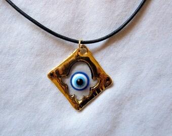 Evil Eye Gold Hamsa Necklace, Gold Evil Eye Hamsa Pendant, Hamsa with Evil Eye Gold Necklace