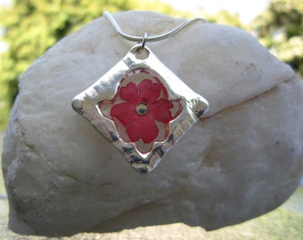 Silver Hamsa Necklace with Pressed Flower, Hamsa Flower Resin Necklace, Valentine's Day Necklace, Mothers Day Jewelry