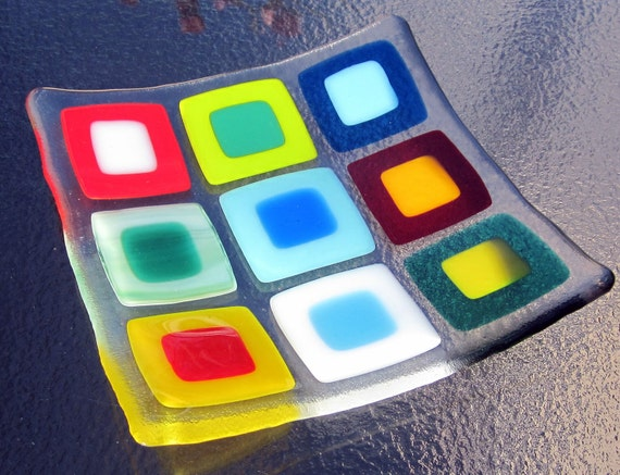 Fused Glass Plate, Bright Double Squares