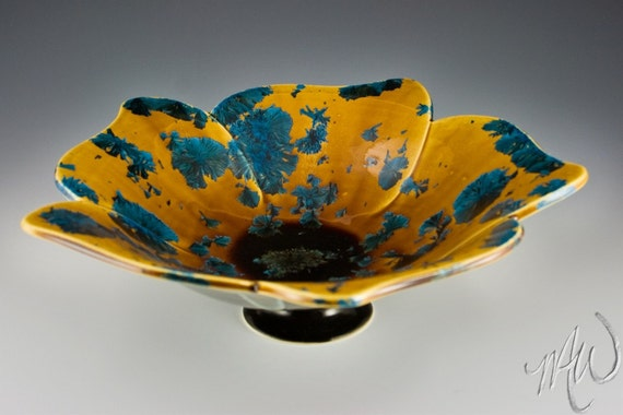 Pedestal Bowl, Crystalline Glazed Porcelain