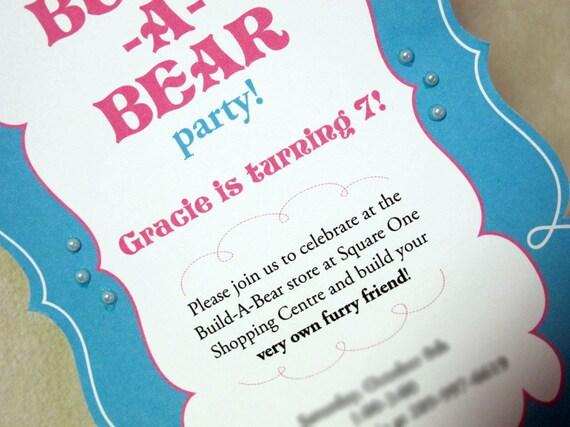 Items similar to Build A Bear Invitation on Etsy – Build a Bear Birthday Invitations
