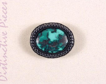 Turquoise Pin Brooch Pendant - Southwestern Style Pin, Handmade Beadwork Embroidered Brooch, Turquoise With Seed Bead Embroidery, PO2230008