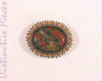 Unakite Brooch or Pendant -  OOAK Handmade Jewelry, Natural Red and Green Unakite Cabochon, Seed Bead Embroidered Brooch/Pendant, PO2230004