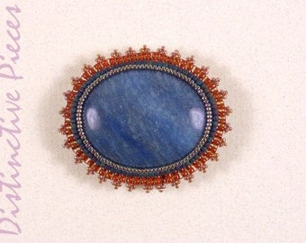 Blue Agate Brooch or Pendant - Seed Beadwork Embroidery, Natural Agate Cabochon, Blue and Red Seed Beaded Pin, Hat Jewelry, OOAK, PO3040004