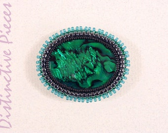 Green Paua Shell Brooch or Pendant - Beadwork Embroidery, Seed Bead Shell Pin, Handmade Bead Embroidered Brooch, Green Pendant, PO3040012