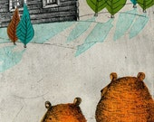 bears and hut limited edition print