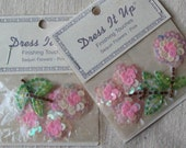 Sequin Flower Appliques-Pink and Ivory