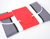 Diaper Clutch changing pad with wipe pocket in Scarlet and Gray