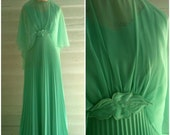 Vintage Gown - 1970s MINT Green Floor-Sweeping Formal Maxi Gown with Accordion Pleats and Sheer Overlaid Cape
