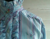 Vintage 1970s Shirt - Baby Blue Ruffle Neck Floral Stripe Blouse