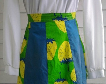 Vintage 1950s Blue, Green & Yellow STRAWBERRY Apron