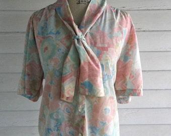 Vintage Blouse - 1980s Floral Pastel SUMMER Shirt with Sailor Tie