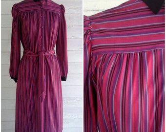 on sale : Vintage Dress - 1970s FUCHSIA Striped Dress with Contrasting Black Collar and Cuffs