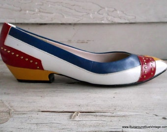 Vintage Shoes : 1980s PRIMARY Color Studded Shoes 6