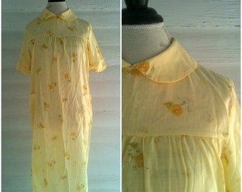 Vintage Dress or Gown - Yellow Floral Vintage Dress with Peter Pan Collar