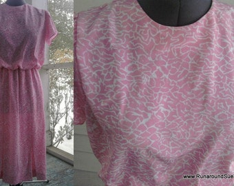 on sale: Vintage 30s-Inspired 80s COTTON CANDY Pink  Dress with TULIP Sleeves