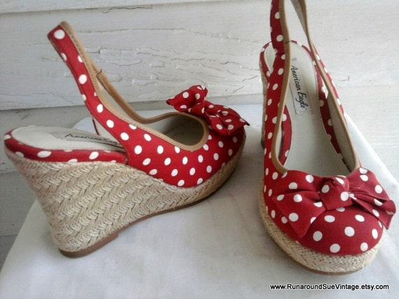 rockabilly and white polka dot wedge heels with bow 8 5