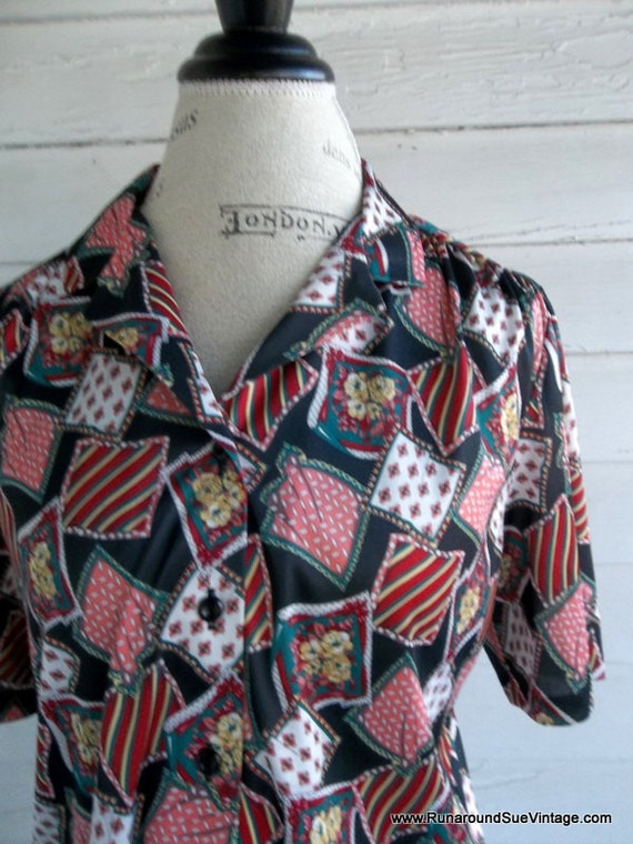 Patchwork design blouses with retro
