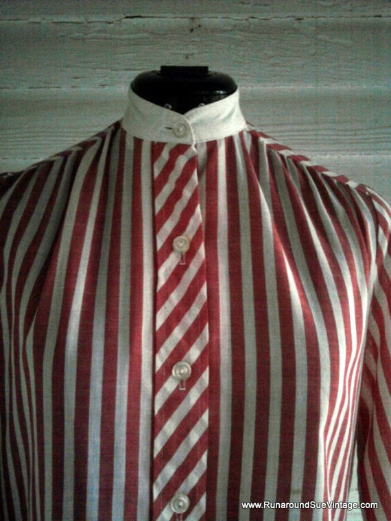 Vintage Striped Shirt - PEPPERMINT 80s Shirt with Band Collar